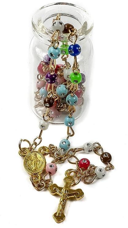 Nazareth Market Store Cristales de Zirconia de católica rosario Multicolor bendición María medalla & INRI Cruz