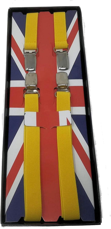 Tirantes pitillo - Amarillo - Estilo Vintage - Totalmente ajustable: Amazon.es: Ropa y accesorios