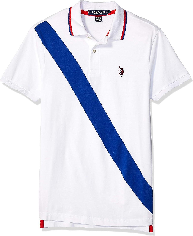 Polo Assn U.S Mens Diagonal Color Block Pique Polo Shirt