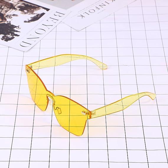 37c61952fed2 OULII Rimless Sunglasses Novelty Pratical Beach Seaside Sunglass Mirror  Summer Eyewear for Men Women (Yellow): Amazon.co.uk: Clothing