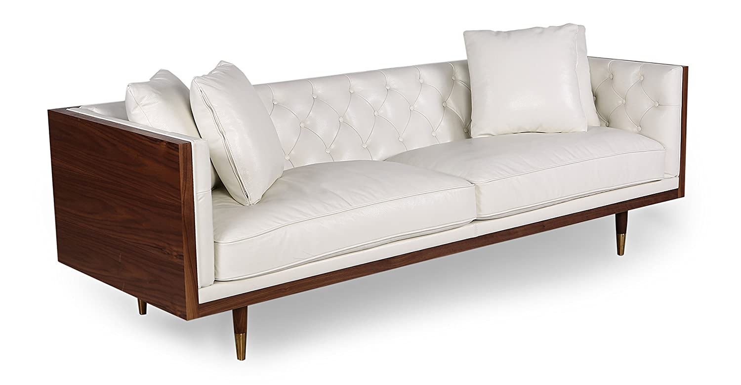Kardiel Woodrow Neo Classic Midcentury Modern Sofa, Walnut/White Aniline Leather