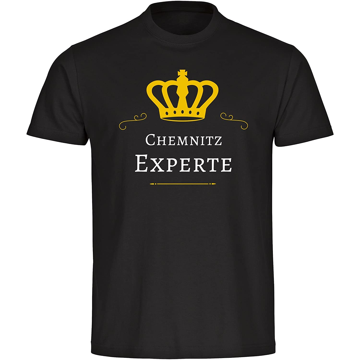 T-Shirt Short Sleeve Crew Neck Chemnitz Expert Black Men Size S to 5XL