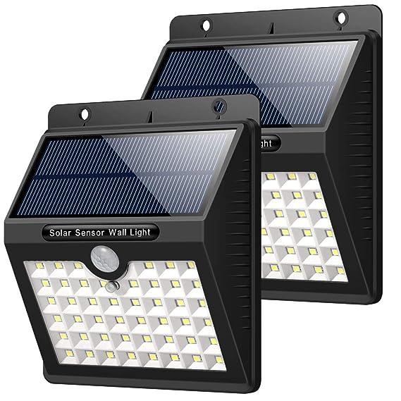 Solarleuchte für Außen, [2 Stück] HETP 46 LED Solarlampe Superhelle Solarleuchte Garten mit Bewegungsmelder Sicherheitswandle