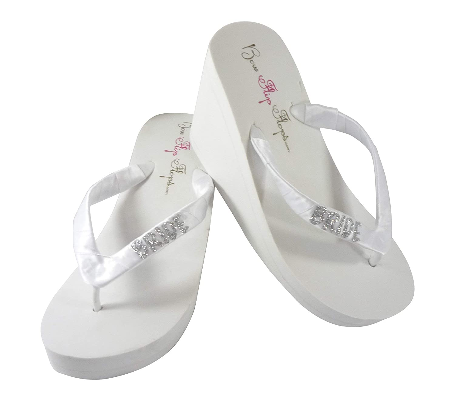9e7f8fff86b01 Amazon.com: Glitter Bride Flip Flops in White or Ivory Wedge Heel ...