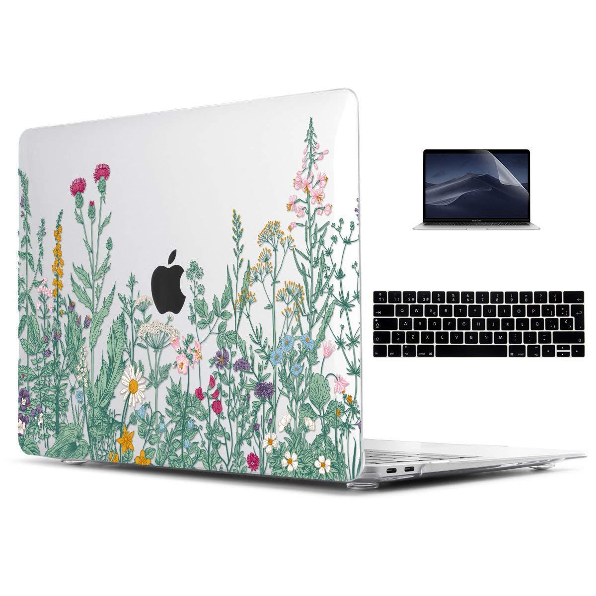 TwoL Funda MacBook 12 Pulgadas A1534, Súper Delgada Carcasa Protectora de Plástico Duro y Cubierta de Teclado y Protector de Pantalla Flores ...