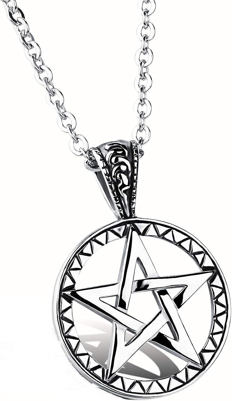 cha/îne Offerte Mintik pour Homme Pentacle en Acier Inoxydable Puissant Pentagramme Sceau de Salomon Pendentif Colliers