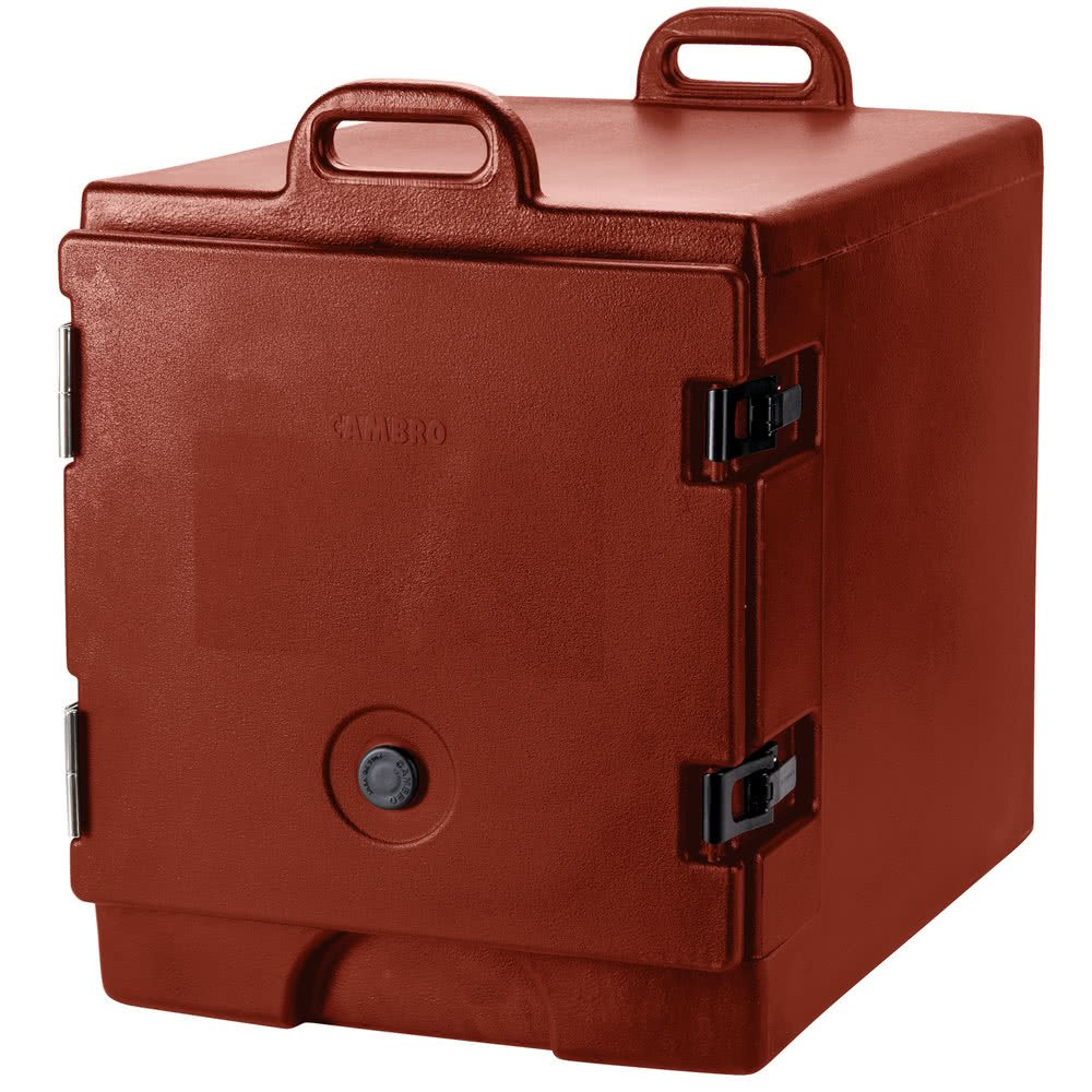 TableTop king 300MPC402 Brick Red Camcarrier Pan Carrier with Handles - Front Load for 12'' x 20'' Food Pans