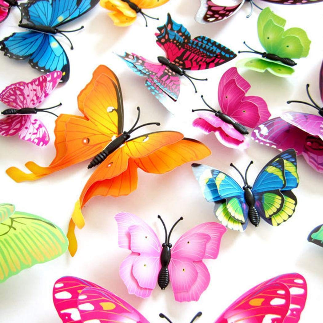 Yirind 12PCS Butterfly Wall Decor for Wall-3D Butterflies Wall Stickers Removable Mural Decals Home Decoration Kids Room Bedroom Decor (9Colors) by Yirind (Image #4)