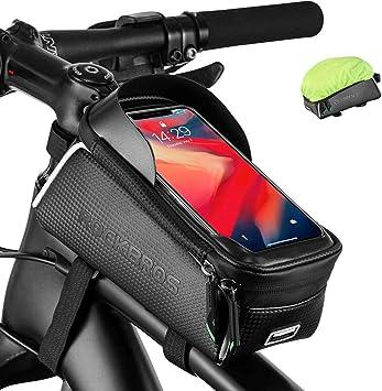 ROCKBROS Bolsa Cuadro Manillar de Bicicleta Monta/ña Carretera MTB Pantalla T/áctil para M/óvil de 6,5 Pulgadas