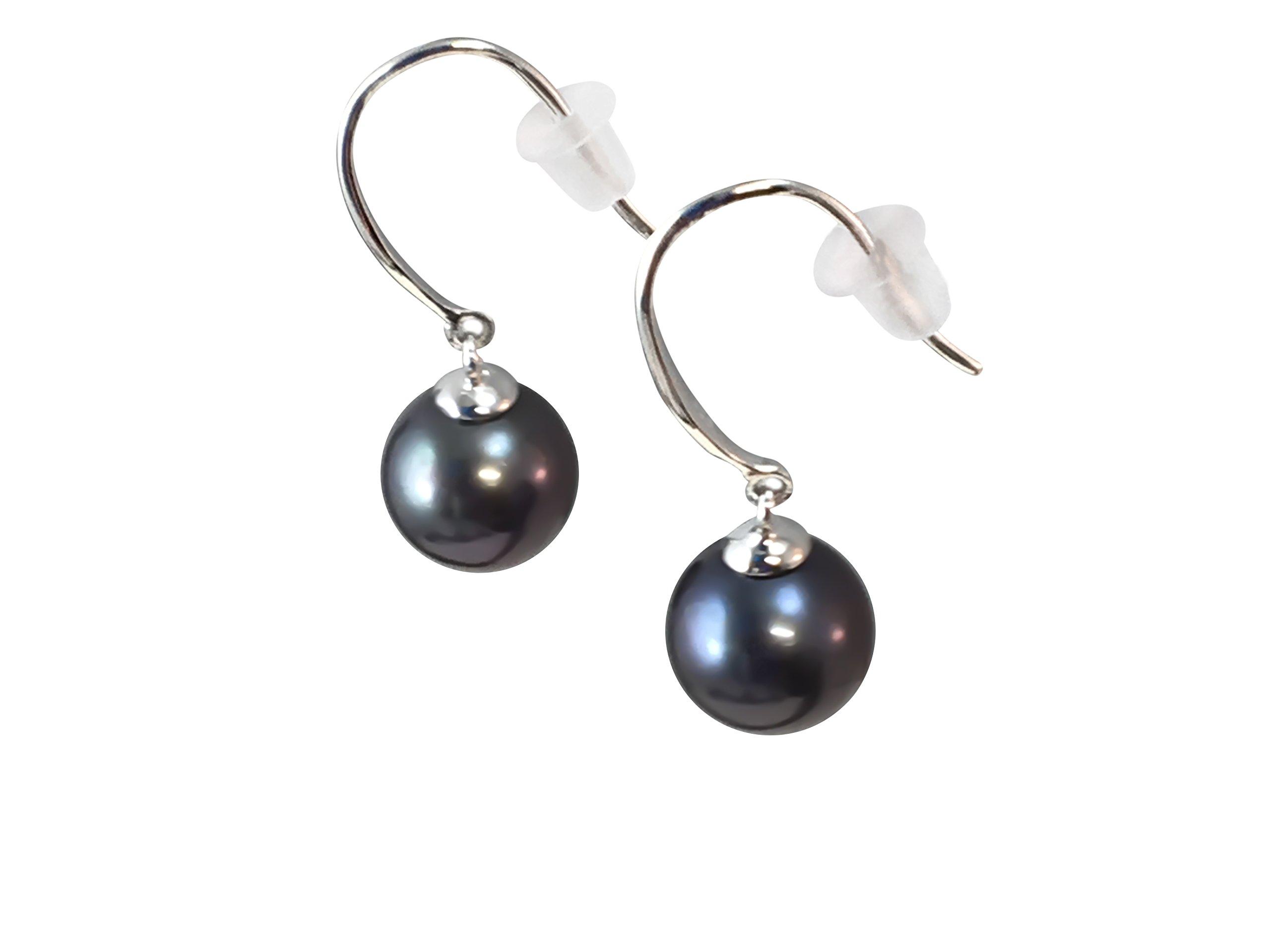 HinsonGayle AAA 8-8.5mm Black Round Freshwater Cultured Pearl Dangle Earrings, Sterling Silver