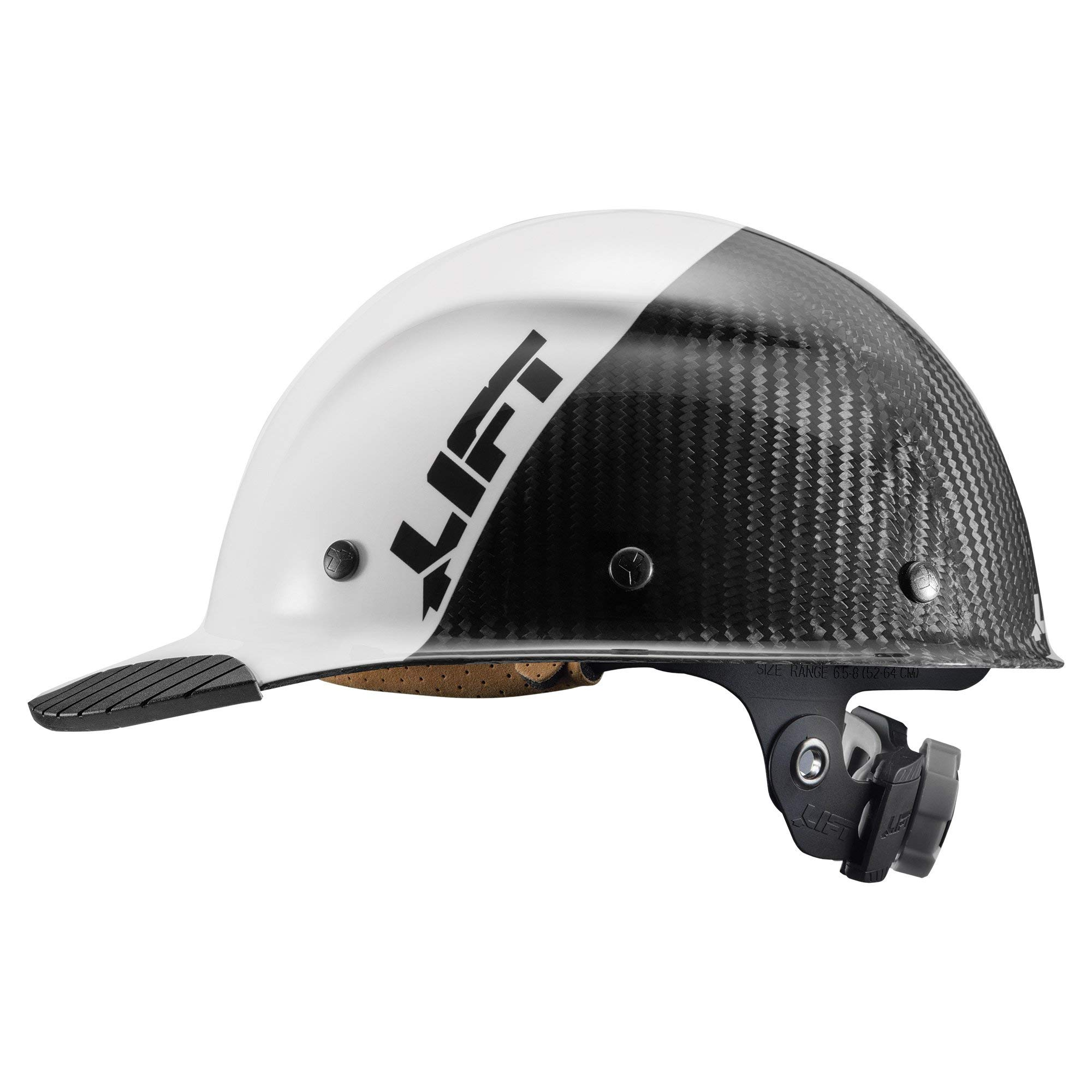 LIFT Safety DAX Fifty 50 Carbon Fiber Cap Style Hardhat ANSI Compliant 6 Point Upgraded Suspension Triple Reinforced Crown, Class C (White - Carbon Fiber) by LIFT Safety