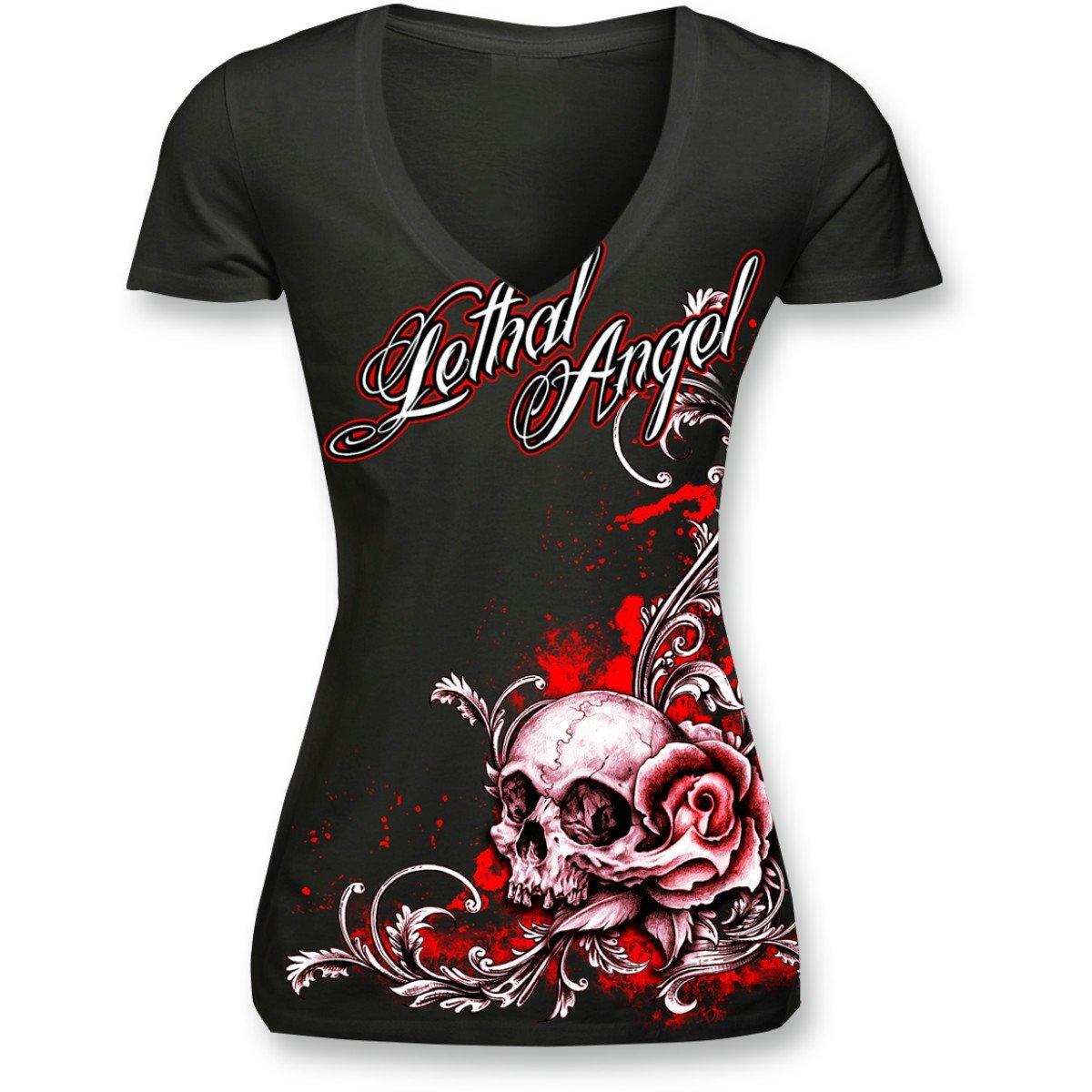 Lethal Threat (LT20288S) Women's Lethal Angel Floral Skull V-Neck T-Shirt (Black/Red, Small)