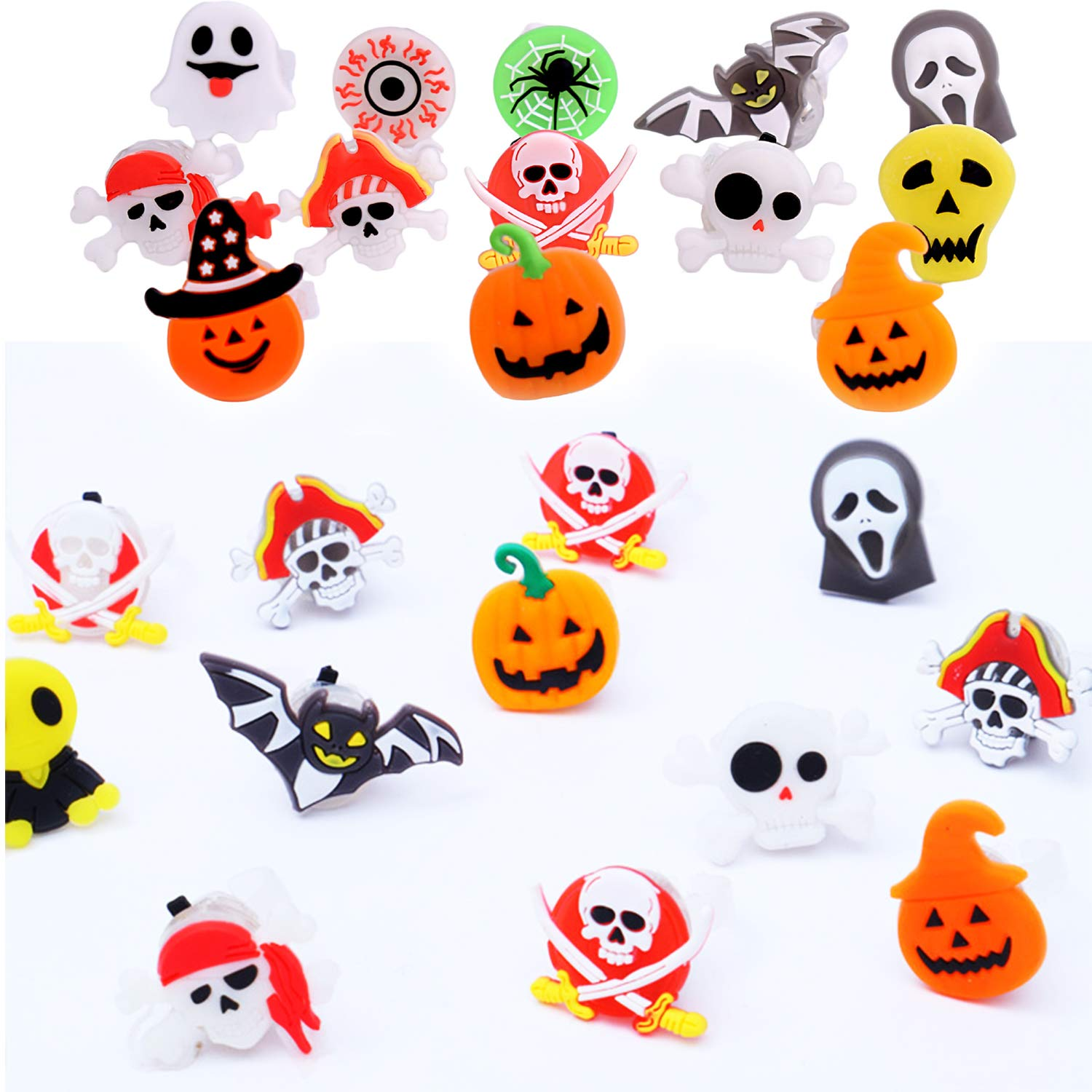 50 Pack Halloween Light Up Rings for Kids Adults Party Favors Flashing Glow LED Ring Bright Flash Toys Set Gift for Halloween Kid Party Supplies Indoor Decoration Holiday Pumpkin Ghost Spider Bat