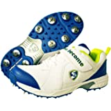 SG Svage Cricket Full Metal Spikes Shoes, White/Lime/Royal Blue - 9 UK