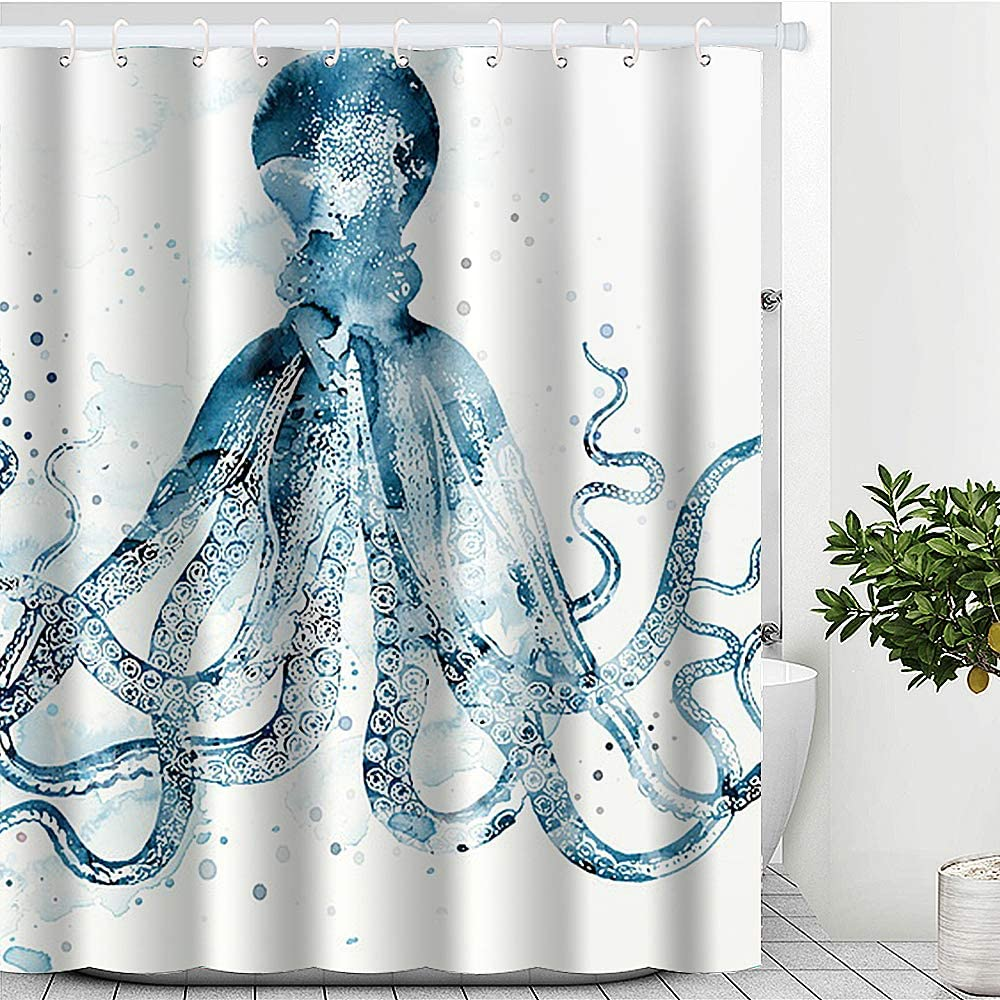 "Blue Octopus Shower Curtain, Beach Theme Shower Curtain Waterproof Polyester Fabric Purple Ocean Animal  Shower Curtain Set with Hooks Bathroom Decor 72"" x 72"" (72 x 72 inches, Blue Octopus)"