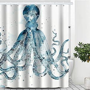 "Blue Octopus Shower Curtain, Beach Theme Shower Curtain Waterproof Polyester Fabric Purple Ocean Animal Shower Curtain Set with Hooks Bathroom Decor 72"" x 72"" (72 x 72 inches, Blue Octopus)"