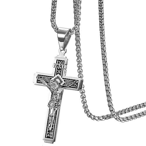 05aa2e2357148a Oidea, collana da uomo, con ciondolo a forma di crocifisso, in stile vintage