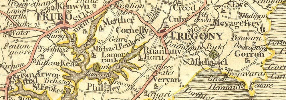 STH CORNWALL.Falmouth Truro Fowey Bodmin Liskeard Looe St Austell.CARY 1794 map