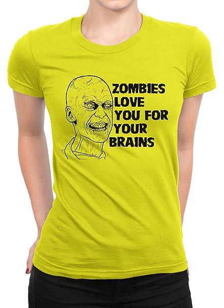 Zombies Love You para su cerebros camiseta mujer camiseta de corte clásico Amarillo amarillo XX-