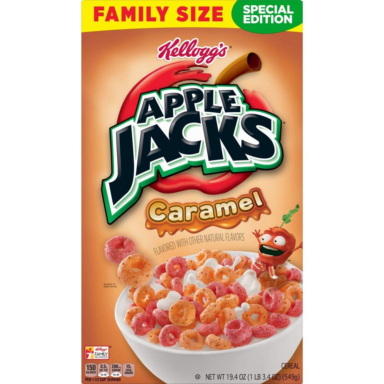 Amazon.com: Kellogg's, Apple Jacks, Breakfast Cereal, Caramel, Family Size,  19.4 Oz ( ONE BOX )