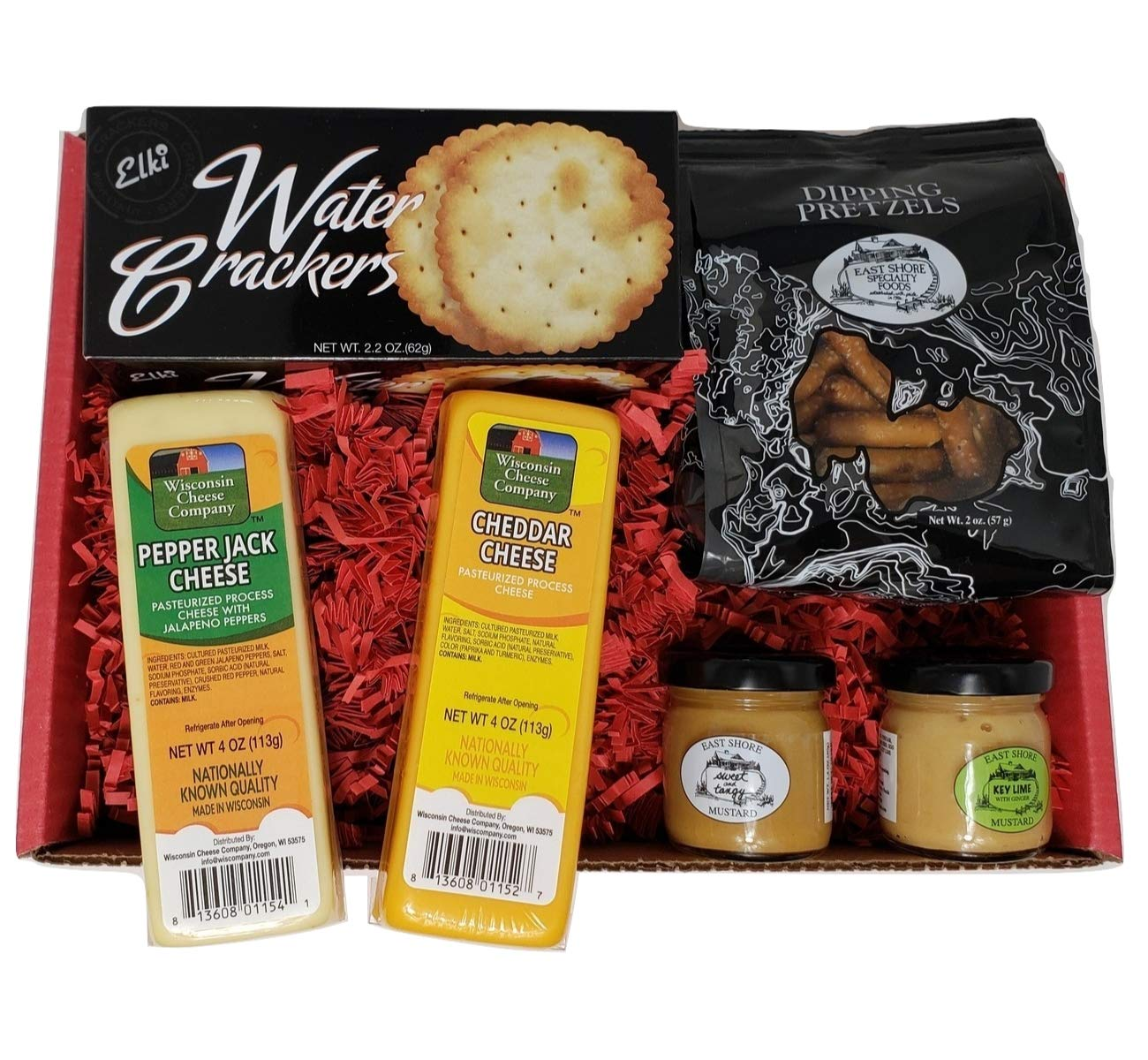 Specialty Gourmet Snack Gift Basket - features 100% Wisconsin Cheddar & Pepper Jack Cheeses, Crackers, Pretzels & Mustard. A Perfect Birthday, Special Occasion Gift Basket. Gourmet Snack Food Gift.