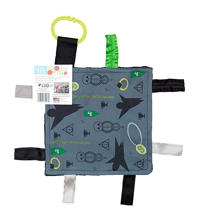 """Baby Sensory Crinkle & Teething Square Lovey Toy with Closed Ribbon Tags for Increased Stimulation: 8""""X8"""" (Dark Magic)"""