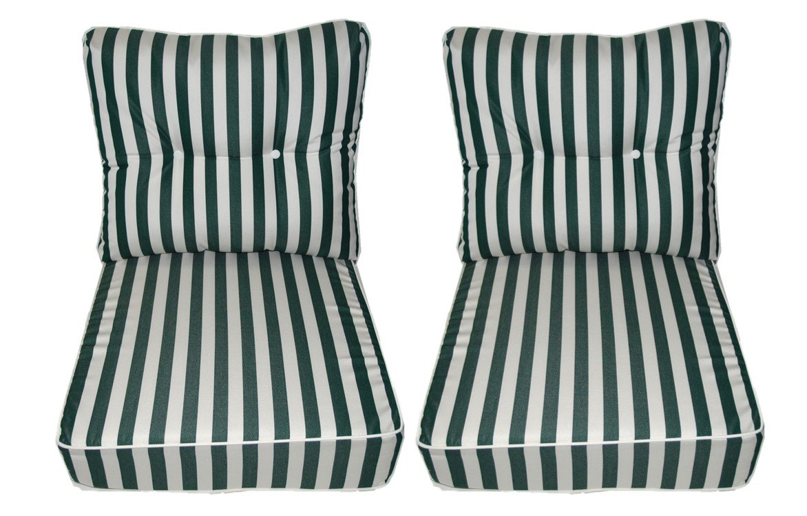 Sunbrella Mason Forest Dark / Hunter Green Stripe Cushion w/ White Cording / Piping - Set of 2 Seat and Back Cushions for Deep Seating Loveseat - Choose Size (Seat Cushion - 24'' W X 27'' D)