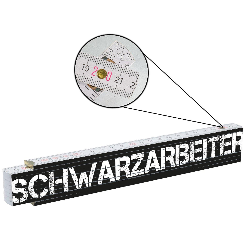 Zollstock Schwarzarbeiter Meterstab Geschenk M/änner Vater Bau Handwerker 2m Holz
