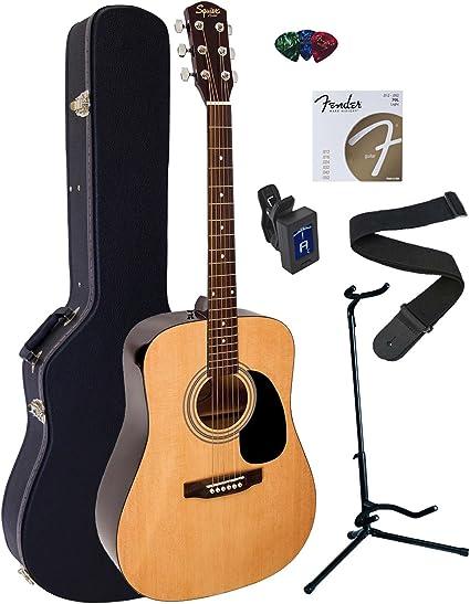 Fender Squier Guitarra Acústica Dreadnought Bundle con carcasa ...