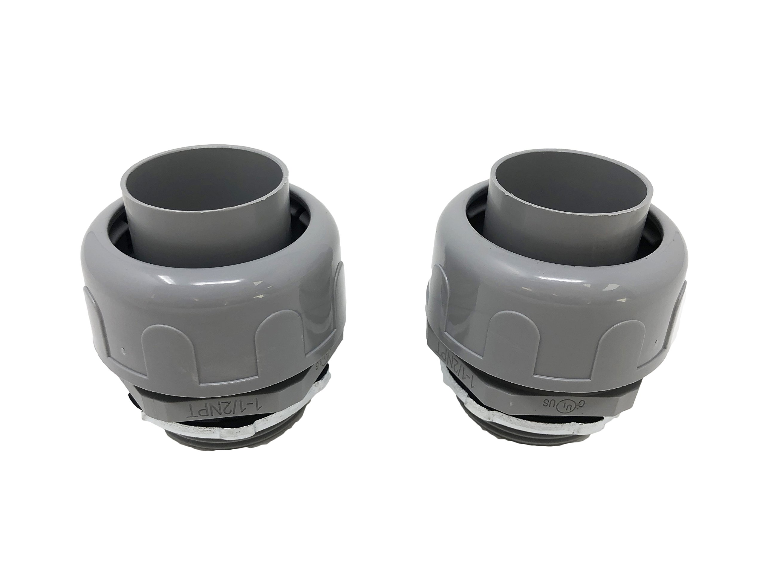 Sealproof 1-1/2-Inch Non-metallic Liquid Tight Straight Electrical Conduit Connector Fitting, UL Listed, 1-1/2'' Dia, 2-Pack