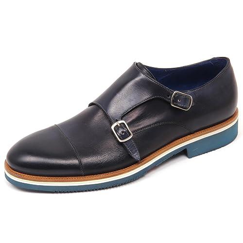 D0542 scarpa uomo CARACCIOLO 1971 VENICE scarpe doppia fibbia blu shoe man   42   Amazon.it  Scarpe e borse 30bdf703b67