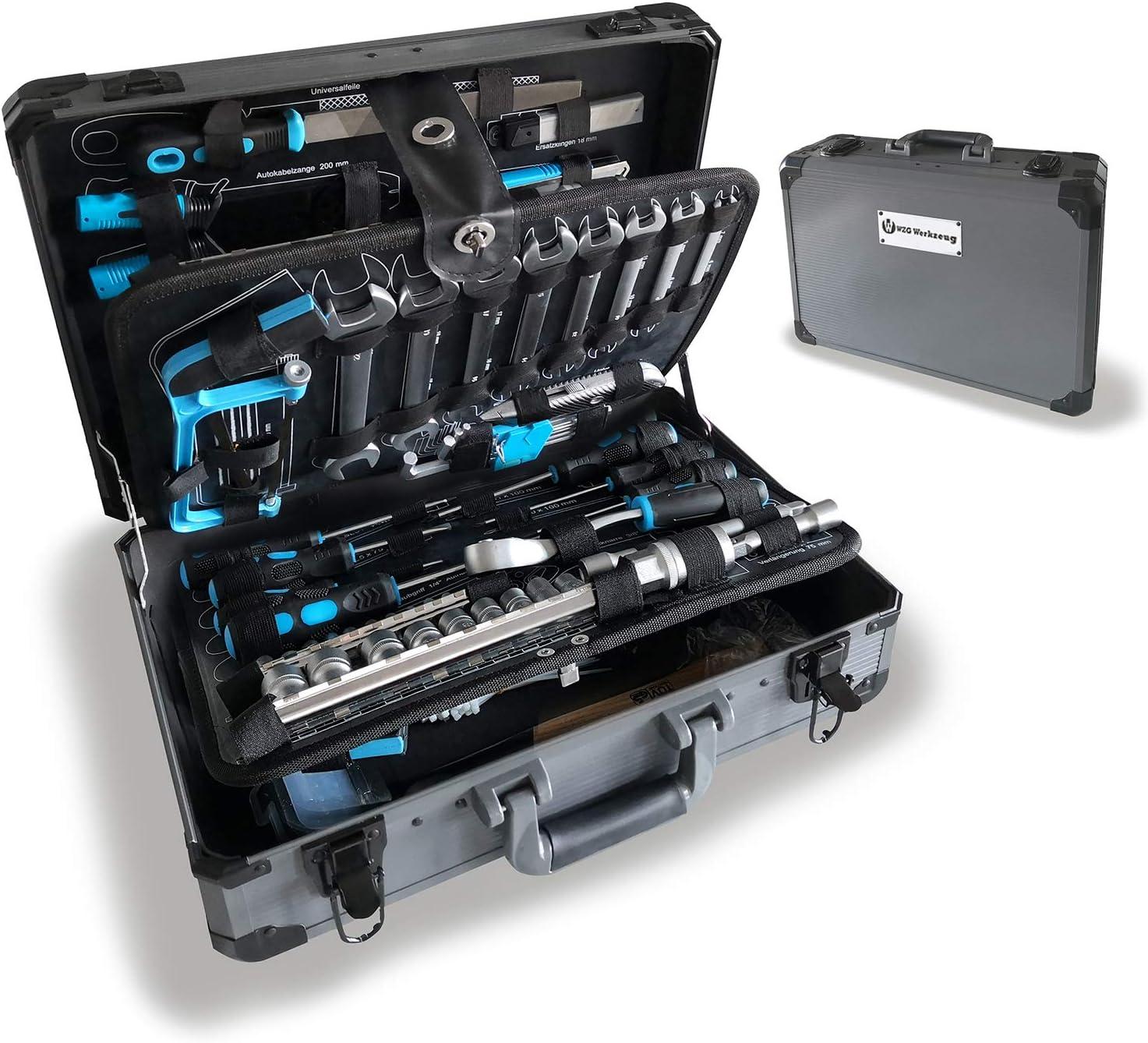WZG Werkzeug 102 piezas Juego de herramientas manuales Kit de mecánica con estuche de aluminio que incluye llave, almohadilla para arrodillarse y juego de dados - Ideal para taller y garaje