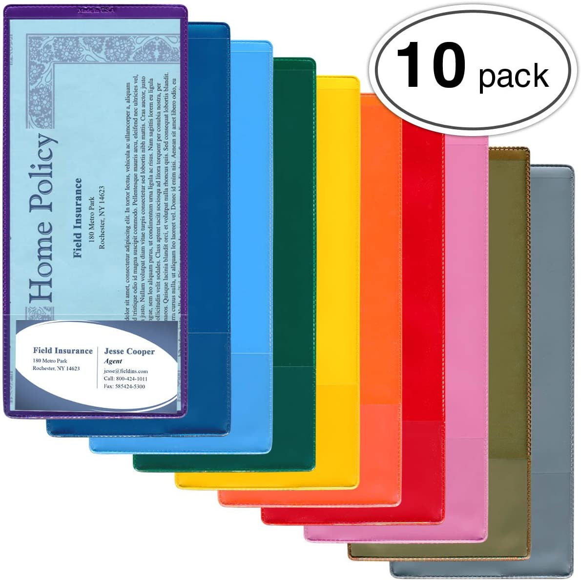 RFS20VP StoreSMART Auto Insurance /& ID Card Holders 10-PACK Variety Colors