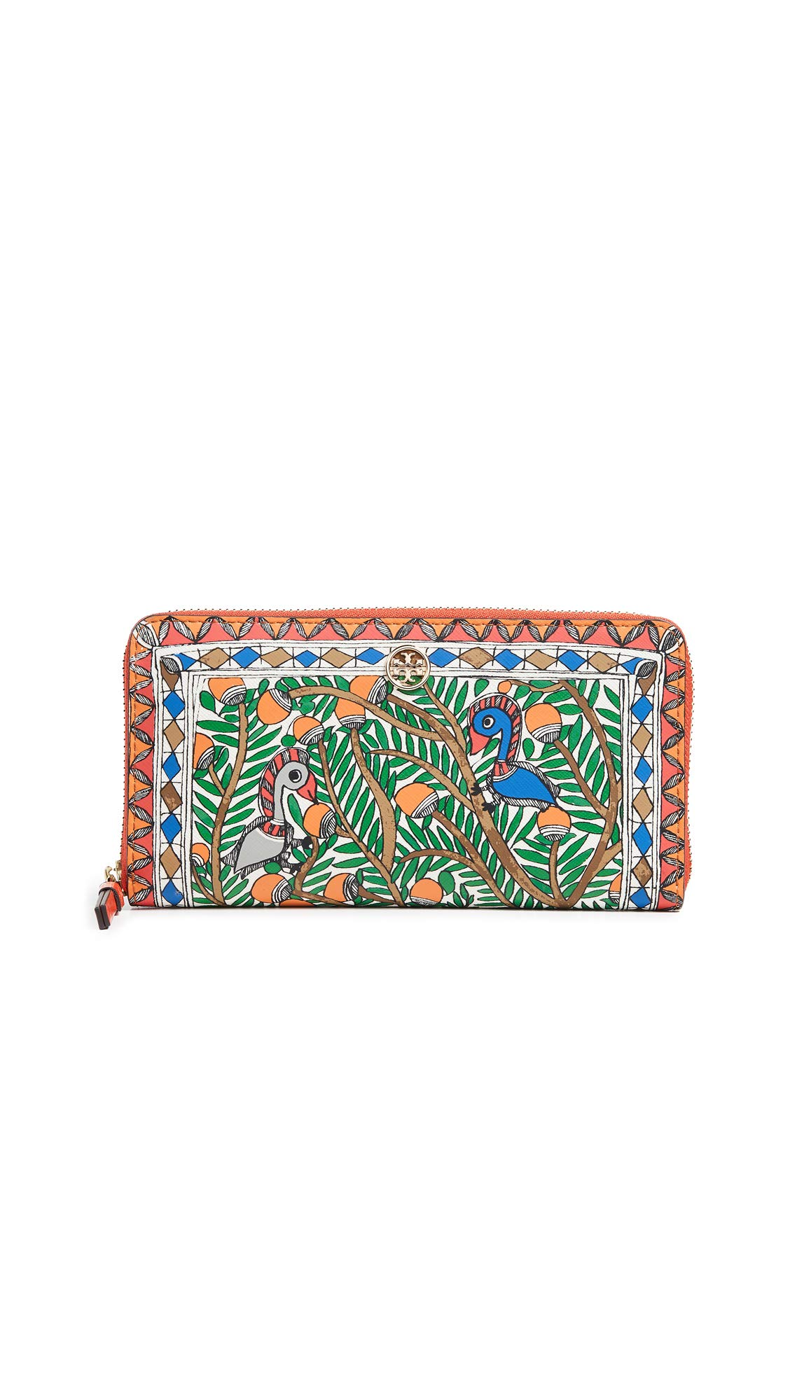 Tory Burch Women's Robinson Printed Zip Continental Wallet, Something wild, One Size