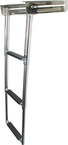 3 Step Over Platform Telescoping Stainless Steel Drop Ladder