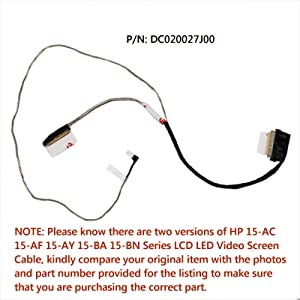 Todiys LCD LED Video Screen Cable DC020027J00 40 Pin for HP 15-AC 15-AF 15-AY 15-BA 15-BN Series 15-AC037CL 15-AC061NR 15-AF115NR 15-AF120CA 15-AY053CA 15-AY053NR 15-BA037CL 15-BA038CA