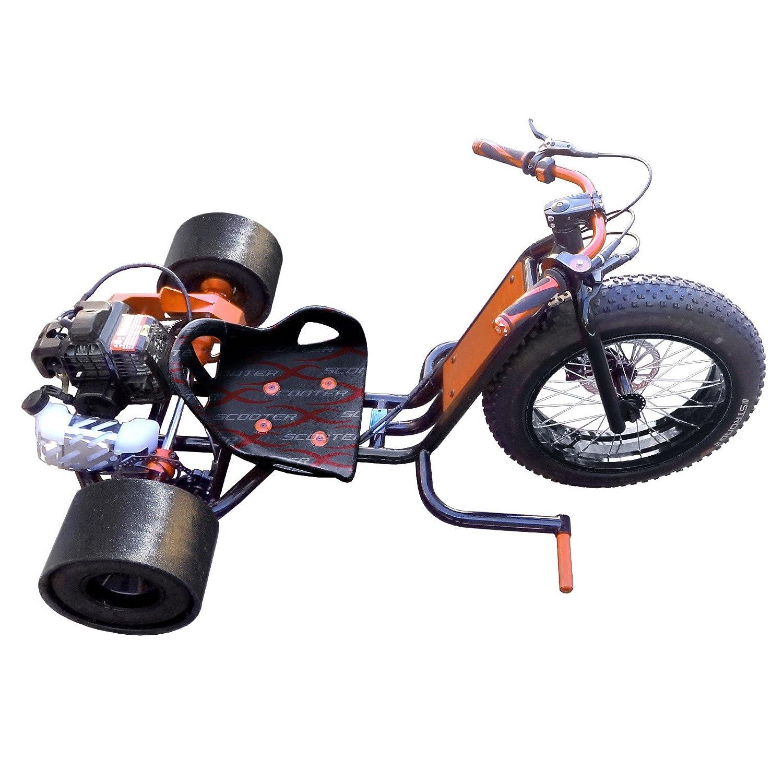 ScooterX Drift Master 2,5 CV 49 cc Drift trike Drifting Big Wheel Go Kart 30 mph. 2 Stroke Marco Negro con borde dorado [534g]: Amazon.es: Coche y moto