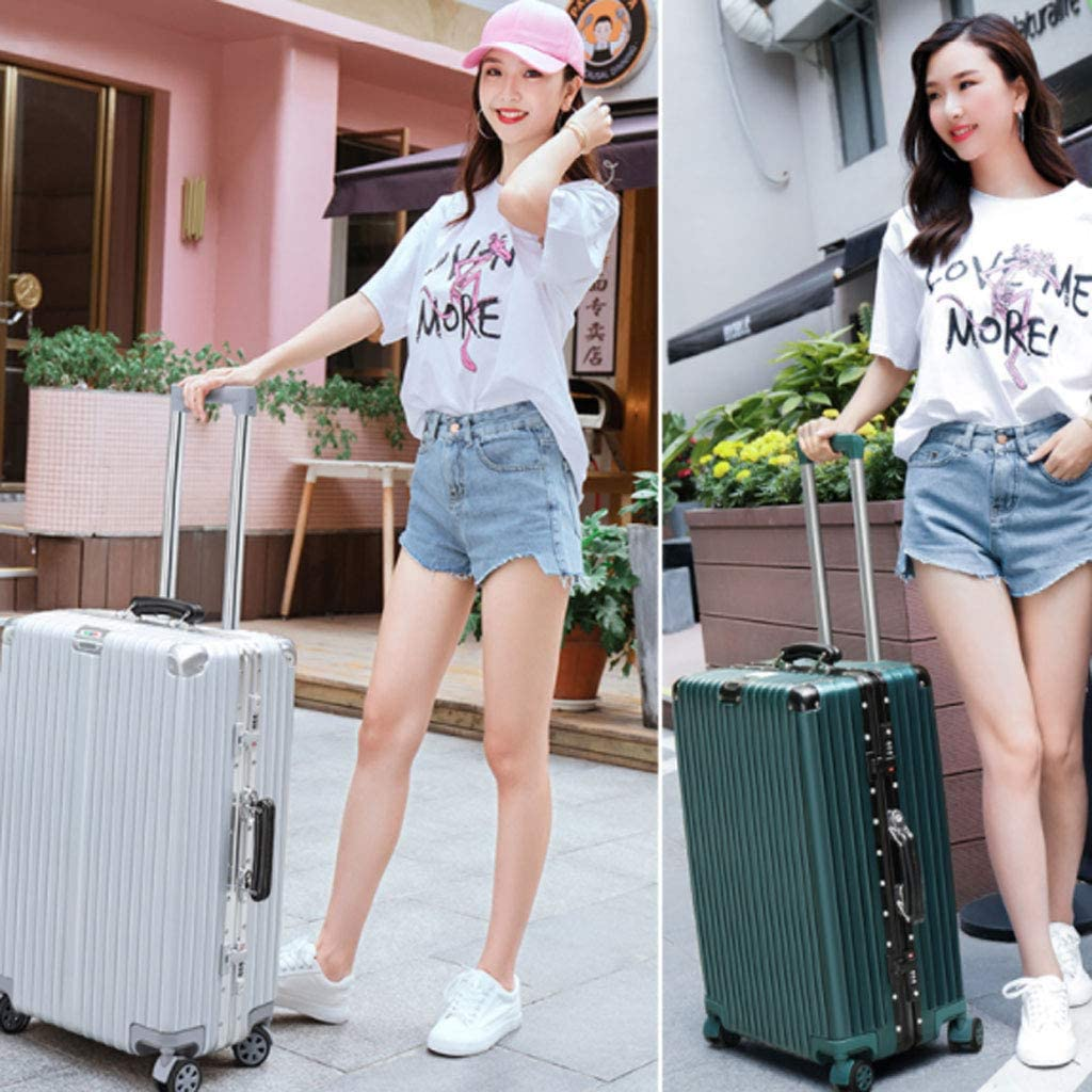 Color : Pink, Size : 22 inches 20//22//24//26 Inch White HUANGDA Aluminum Frame Retro Style Password Suitcase,Spinner Wheels Trolley Case
