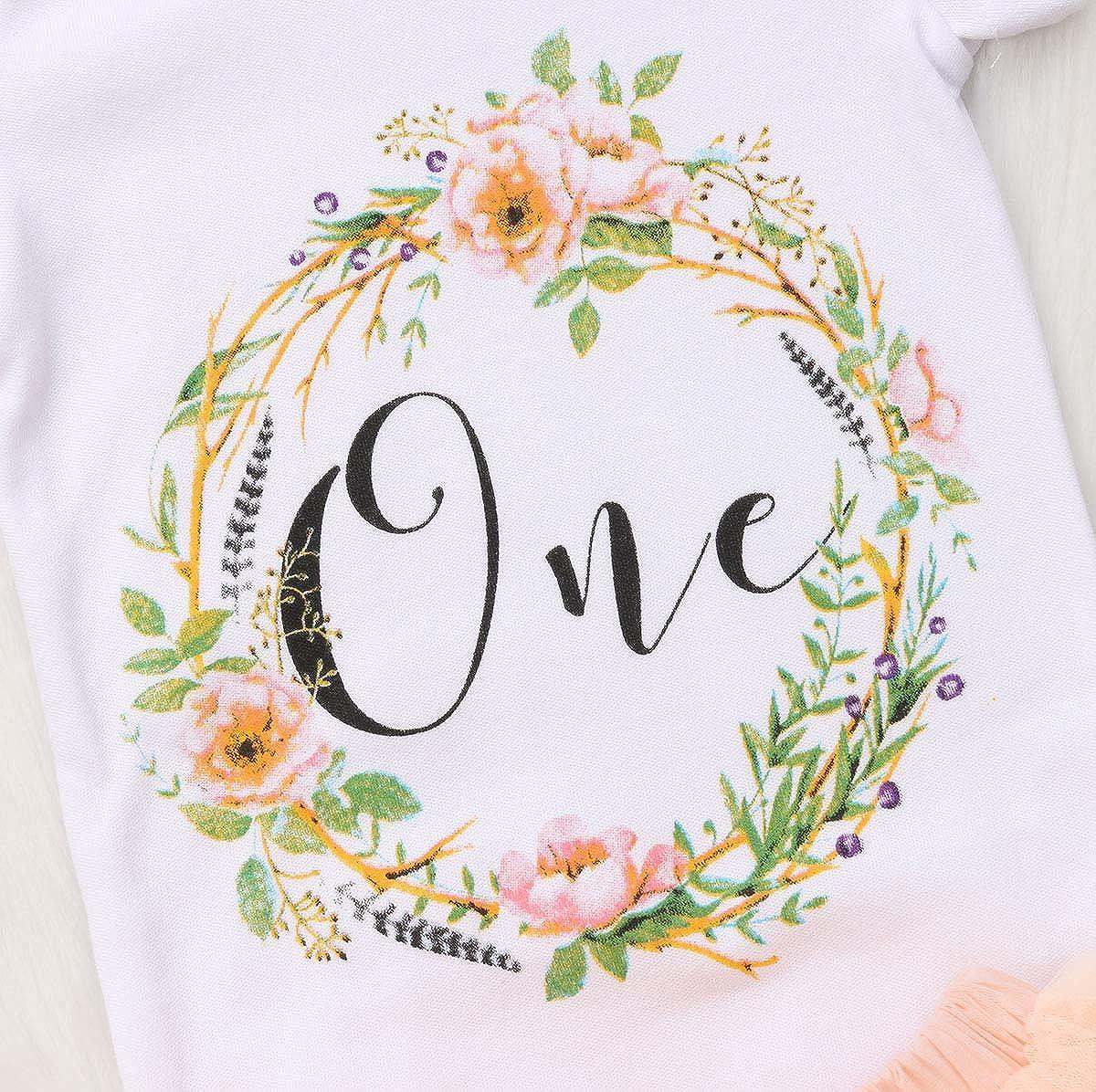 Baby Girls 1st Birthday Tutu Dress Outfit Short Sleeve Unicorn Romper+Lace Skirt+Headband 3Pcs Clothes