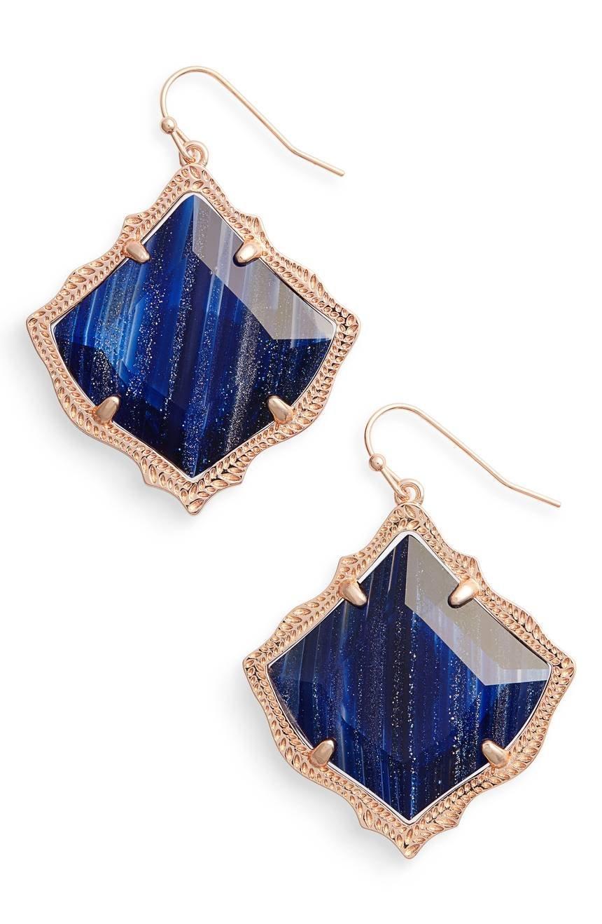 Kendra Scott Kirsten Navy Dusted Glass/ Rose Gold Drop Earrings