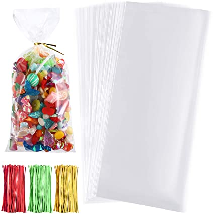 Boao 200 Pieces Clear Cellophane Bags Halloween Christmas Candy Cookies Treat Bags With 300 Pieces Twist Ties For Theme Party Supplies