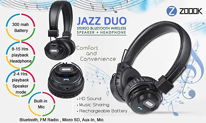 e6547f01209 Zoook Jazz Duo 2 in 1 Bluetooth Headphone: Amazon.in: Electronics