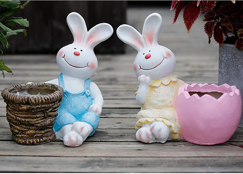 Matilda Juego de macetas de decoración de jardinería de Conejo Sonriente, Adornos de decoración de combinación de jardín, macetas de Plantas pequeñas