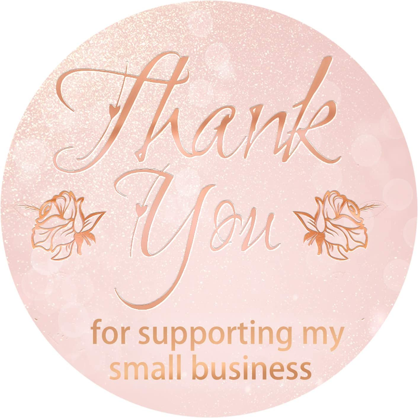 Thank You Stickers Roll 1.5'' Thank You Stickers Small Business Foil Thank You Tags 500 Labels/Roll for Envelope, Gift Bags, Boxes, Decoration (Foil Pink)