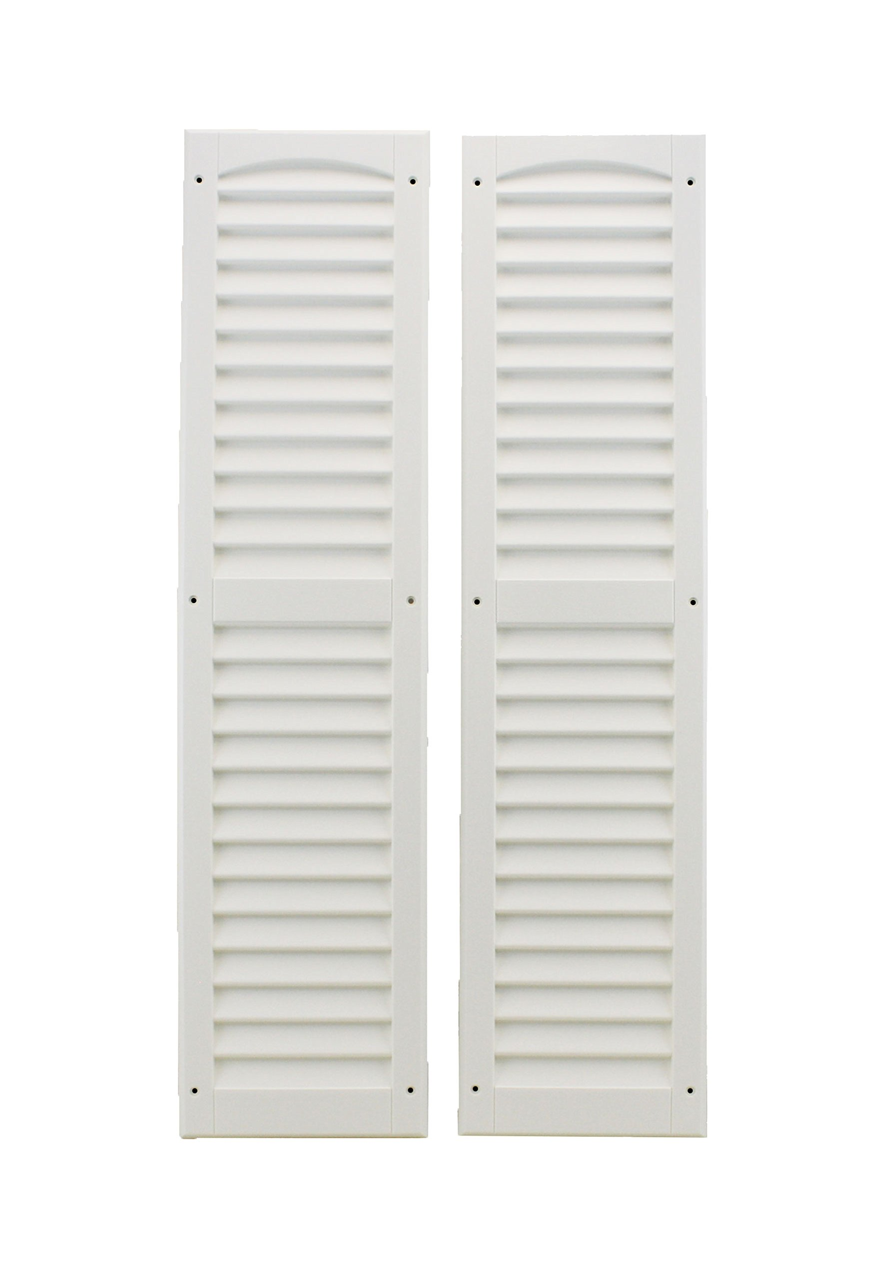 Louvered Shed Shutter or Playhouse Shutter White 9'' X 36'' Sold by The Pair