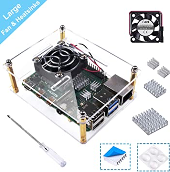 Smraza Raspberry Pi 4 Funda, Carcasa de acrílico con Ventilador de refrigeración, disipadores de Calor compatibles ...