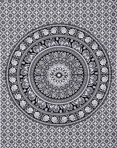 Divya Print 100% Cotton Indian Wall Decor Hippie Tapestries Bohemian Mandala Tapestry Wall Hanging Throw (Twin, Black & White - Vero Beach Eyeglasses