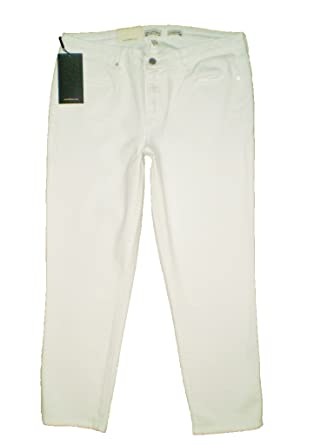 cab16f93933 Image Unavailable. Image not available for. Color  Calvin Klein Mid Rise  Stretch White Denim Cropped Skinny Jeans ...