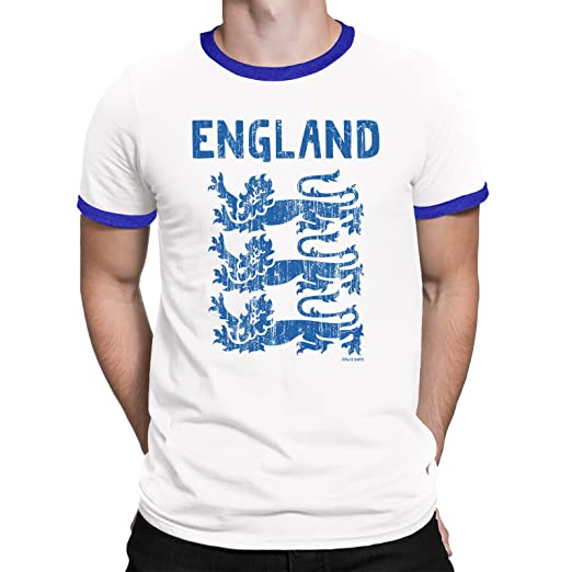 f37cf7a75d4e Amazon.com  Buzz Shirts Mens T-Shirt England 3 Lions World Cup 2018  Football Patriotic English Retro  Clothing