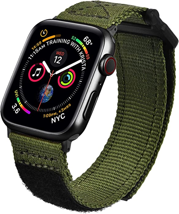 MOFREE Bands Compatible with 44mm Apple Watch Band 42mm Nylon , Soft Breathable Woven Loop Sport Strap Wristband Replacement Band Compatible for iWatch Band 44mm/42mm Series 6/ 5/4/ 3/2/ 1 Men (Army Green, 42mm/44mm)